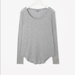 COS Heathered Grey Scoop Neck Slub Knit Top